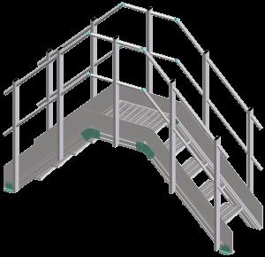 scavalchi, passerelle, parapetti, scale a gradini, passerella di scavalco